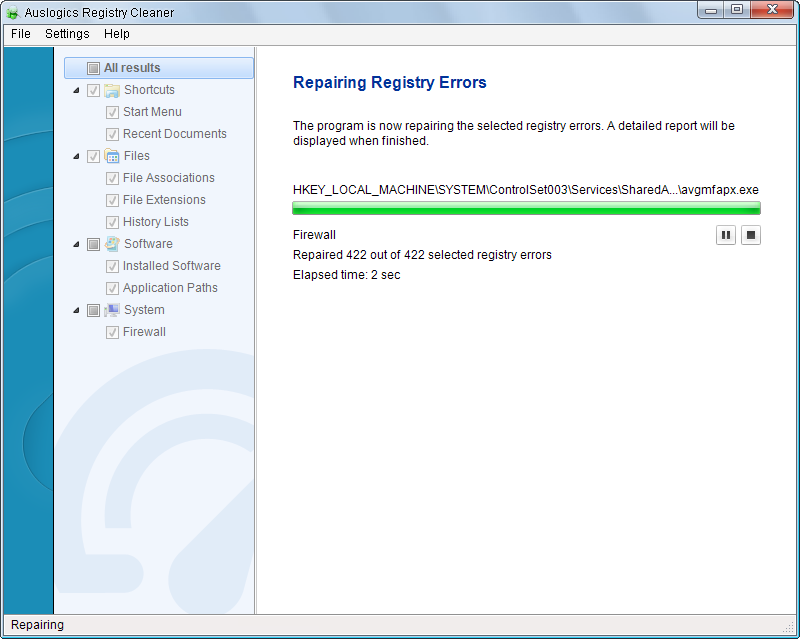 auslogics registry cleaner2