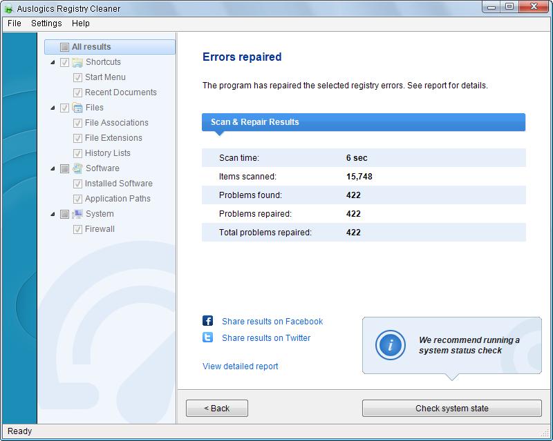 auslogics registry cleaner3